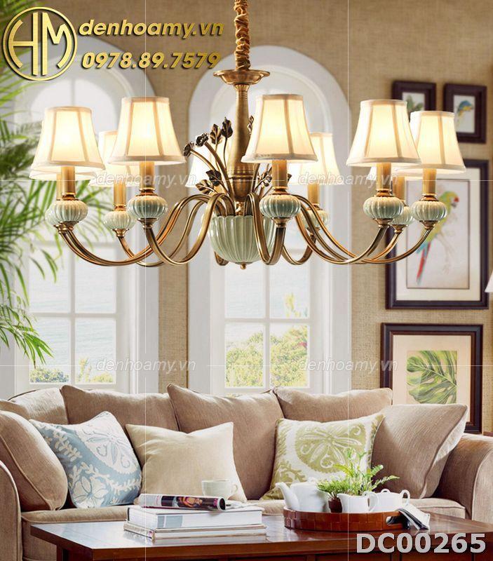 Đèn chùm đồng chao vải phong cách Châu âu tân cổ điển